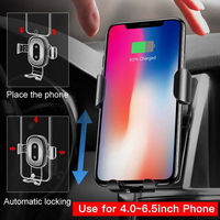 Wireless Fast Car Charger Mount Holder Mobile Phone Wireless Charger Metal Gravity Bracket Automatic Infrared Sensor Charging