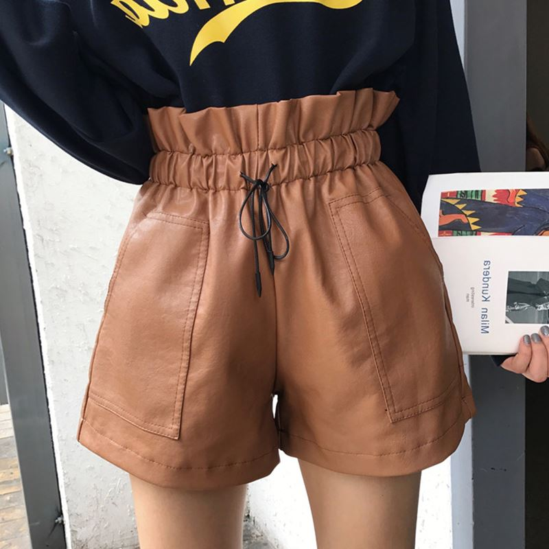 2019 Autumn New Arrival Korean Style Leather   Shorts   High Waisted Loose Wide Leg   Shorts   Women Elastic Waist   Shorts   Free Shipping