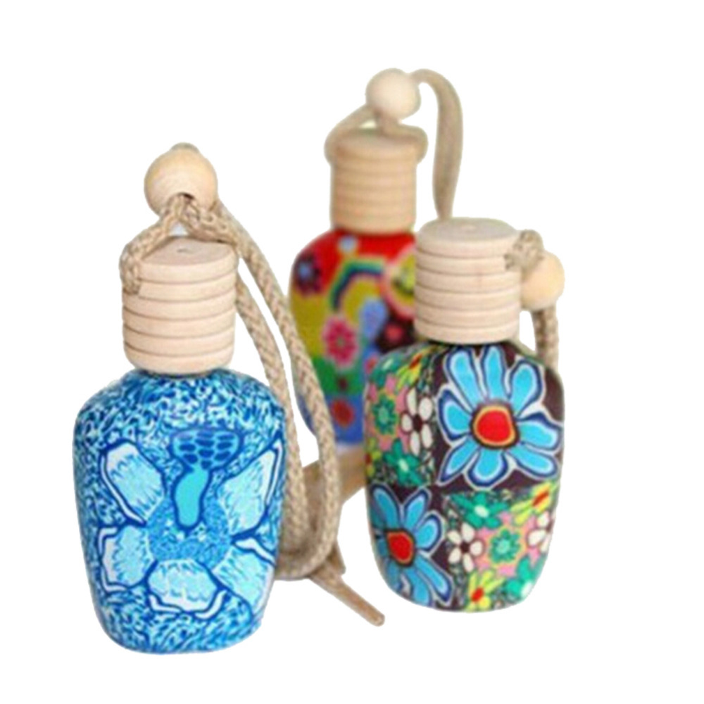 5pcs Empty Perfume Aromatherapy Vehicle Hanging Clay Bottle Container Car Interior Porcelain Air Freshener Decoration Ornament
