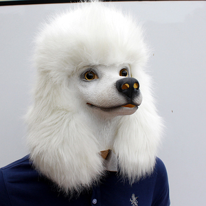 Image 2 - Christmas White Poodle Dog head Party Mask Latex With Further Animal Cosplay Fancy Dress Masks Adult Funny Costume Props