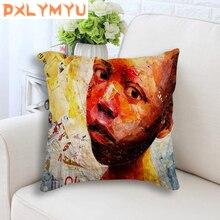 African Children Hand Printed Throw Pillow Case For Sofa Decorative Cushion Cover 45x45 cm Linen Cushion Home Decor цены