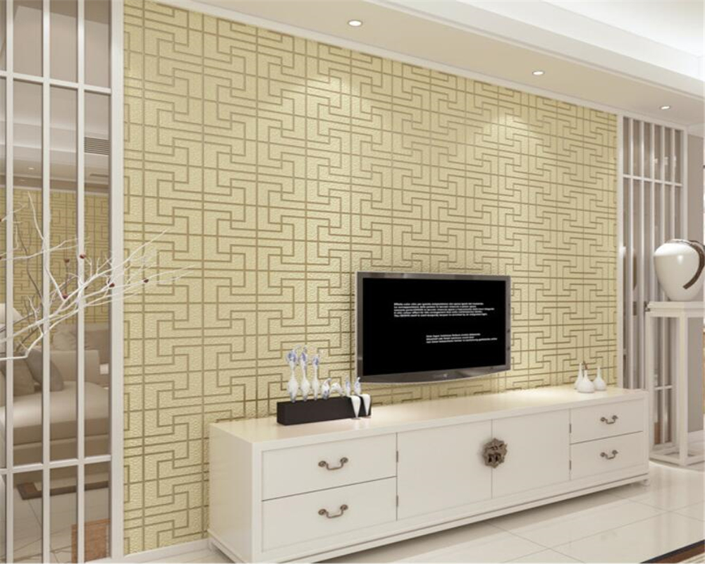 Beibehang Three - dimensional classical lattice wallpaper thick lacquered living room study bedroom background 3d wallpaper roll beibehang warm 3d small leaf pink shallow green 3d wallpaper bedroom living room hotel corridor background 10 m wallpaper roll