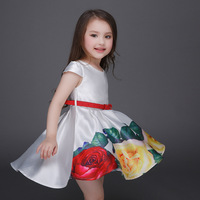 2016 New Children Girls Dress Rose Floral Print Ball Gown With Red Belt Fashion Wedding Party