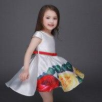 ホット新しい子供女の子ドレスローズフローラルプリントボールガウンで赤いベルトファッション結婚式パーティー子供ドレス用3-9 t