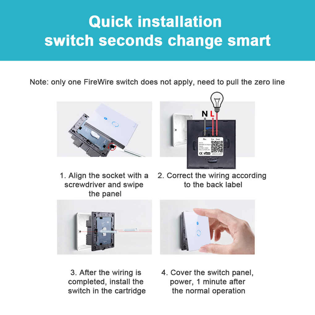 Sonoff EU/US Plug Wifi Wireless Touch Remote Control Tempered Glass Switch  Panel LED Light Wall Switch