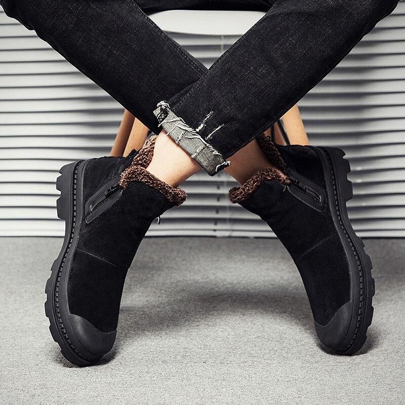 Winter Shoes Men 2018 Black Genuine Leather Zipper Boots Men Fur Plush Insole Ankle Boots Comfortable Men Flats Vintage Style
