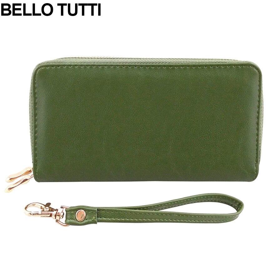 BELLO TUTTI 2016 PU Leather Women Wallet Female Long Clutch Purse Women Wristlet Wallet Brand Zipper Handbag for Women Green цена