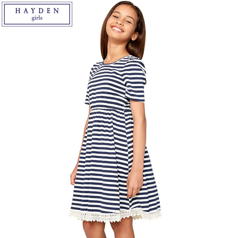 HAYDEN Girls O Neck Short Sleeve Striped Dress 100% Cotton Knee Length Lace Hem Dresses for Teenage Girls Casual Summer Dress summer dresses for girls party dress 100% cotton summer cool and refreshing the harness green flowered dress 1 5years old