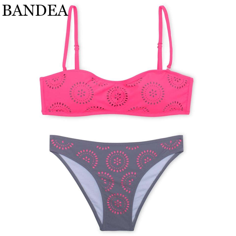 BANDEA padded bikini new sexy cut out swimwear women bandeau swimsuit push up bikini set beach bikinis de las mujeres beach wear halter bandeau padded moulded bikini set