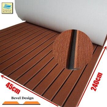 Upgraded EVA Boat Decking Sheet With Bevel Yacht Marine Floor Carpet Anti Slip Teak Deck Mat Dark Brown Boat Marine Accessories