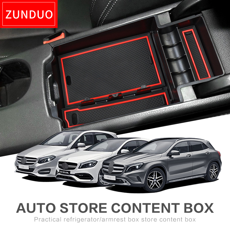 ZUNDUO Car central armrest box For Benz A45 GLA CLA A B Interior Accessories Stowing Tidying red