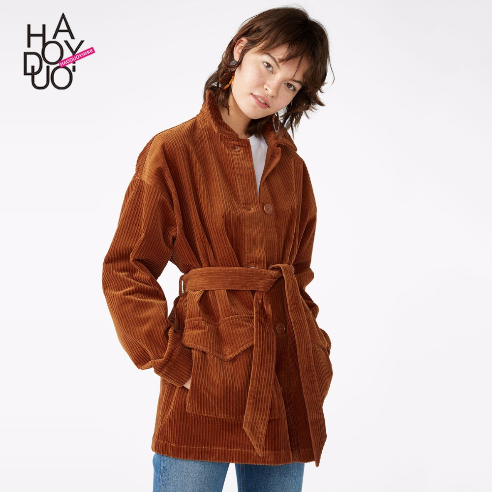 HDY Haoduoyi Women Vintage Temperament Corduroy Lapel Single Breasted Pocket Coat Female Simple Winter Brown Outwear