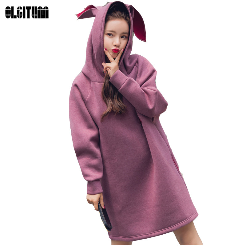 OLGITUM 2018 Sweatshirt for Women Rabbit Hoody Pullover Spring Hoodies Thickened space c ...
