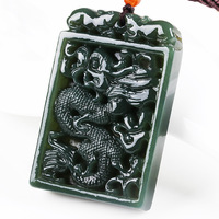 Natural Dark Green HETIAN Jade Pendant Carved Chinese Dragon Lucky Amulet Jade Pendants Necklace For Men