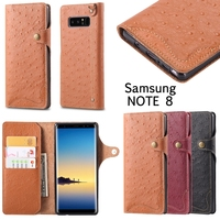 GXE Fashion Luxury Genuine Leather Ostrich Pattern Wallet Case For Samsung Galaxy Note 8 With Slot Card Flip Phone Bag For Note8