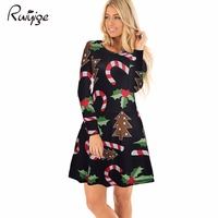 Ruiyige 2017 Women Christmas Dress Mix Printed O Neck Clothes Long Sleeve Lady S Xmas Ball