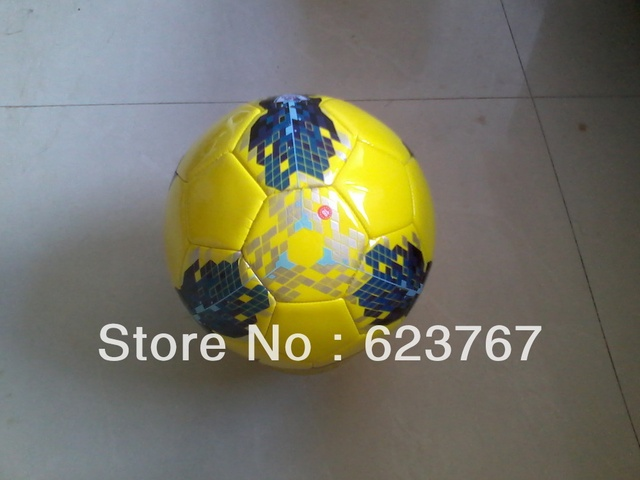 Free shipping 2013 newest machine stitched yellow soccer, soccer game dedicated