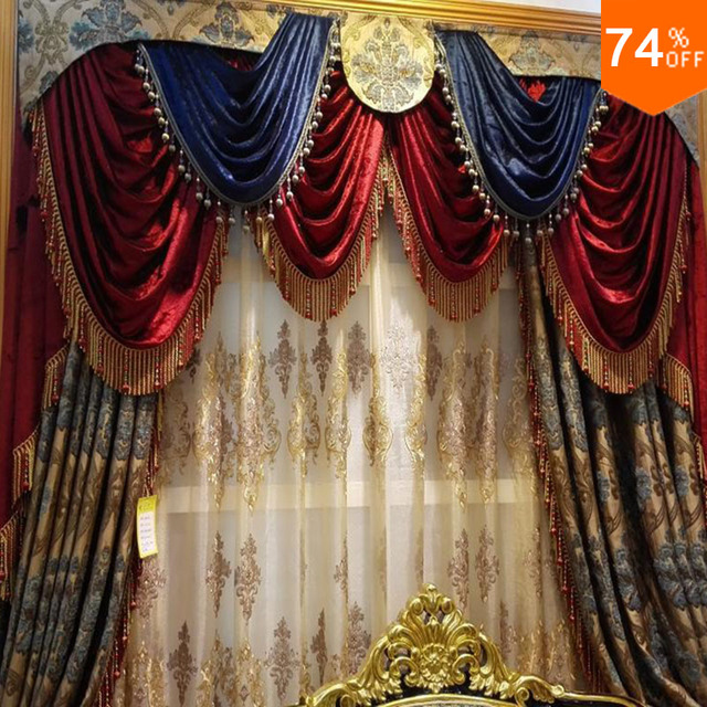 Red Curtains beige red curtains : Aliexpress.com : Buy Red Blue Tent Embroidery Golden and blue ...