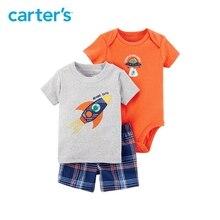 3pcs UFO slogan bodysuit top plaid shorts clothing sets Carter s baby Boy soft cotton Summer