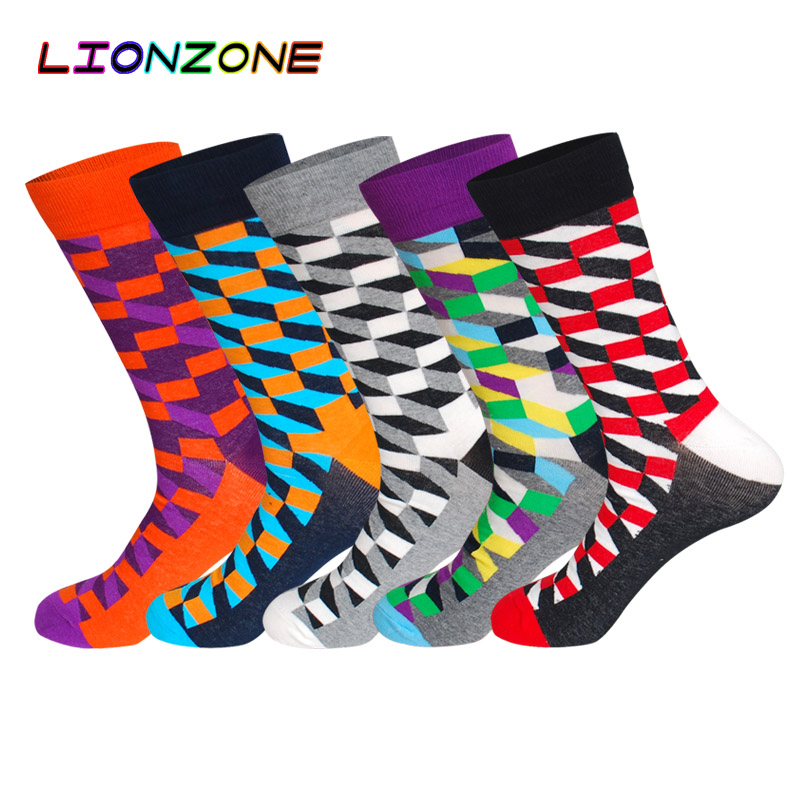 LIONZONE 5Pairs/Lot Diamond Pattern Long Socks Odd Future Funny Colorful Socks US9-13 Big Size Men Socks Cotton Breathable
