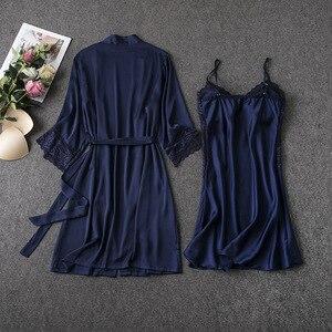 Image 5 - MECHCITIZ damska suknia ustawia 2 sztuka koszula nocna szlafrok lato bielizna nocna kobiet satynowe Kimono jedwabne szaty piżamy salon garnitur