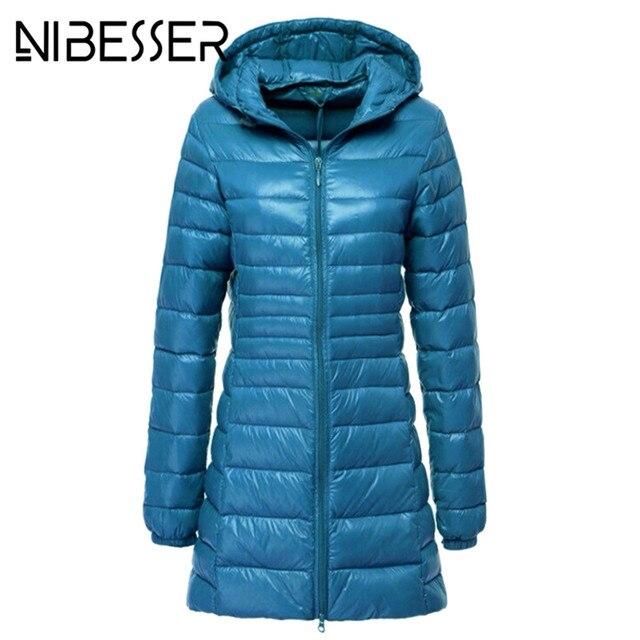 NIBESSER Winter Down Parkas Women 2018 Fashion Ukraine Jacket Plus Size 6XL 5XL Basic Hooded Warm Long Jacket Snow Coats Red