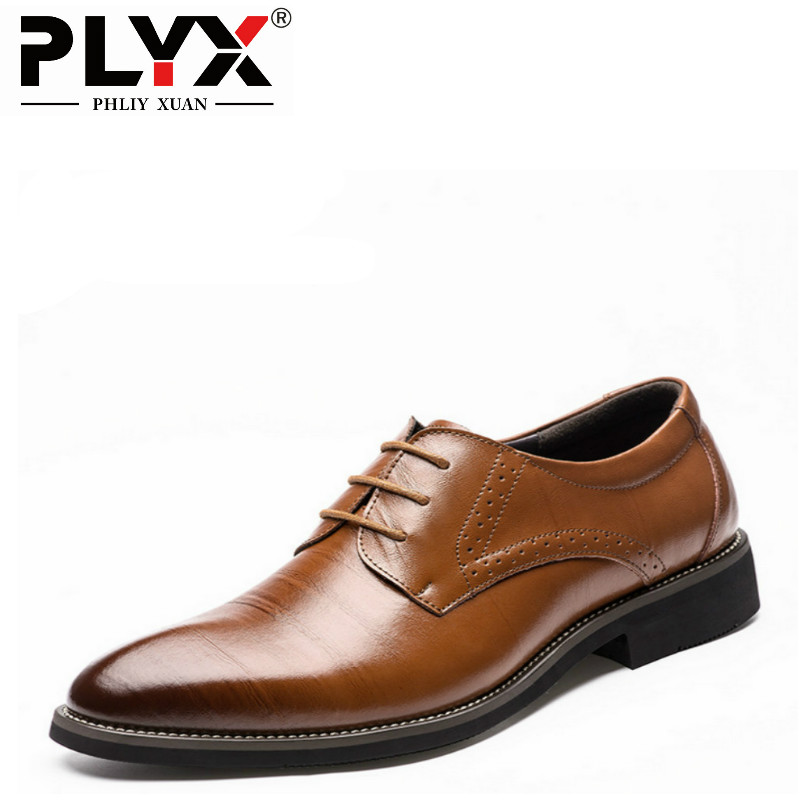 PHLIY XUAN 2019 Man Flat Classic Men Dress Shoes Genuine Leather Wingtip Carved Italian Formal Oxford Plus Size 38-48 For Winter