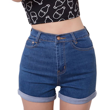 Casual 2017 Summer Vintage High Waisted Denim Women Shorts Plus Size Slim Stretch Turn Ups Cute Female Jeans Shorts Waist