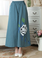 Blue Chinese Ladies Cotton Linen Skirt Women S Vintage Long Pleated Skirt Summer New Casual Loose