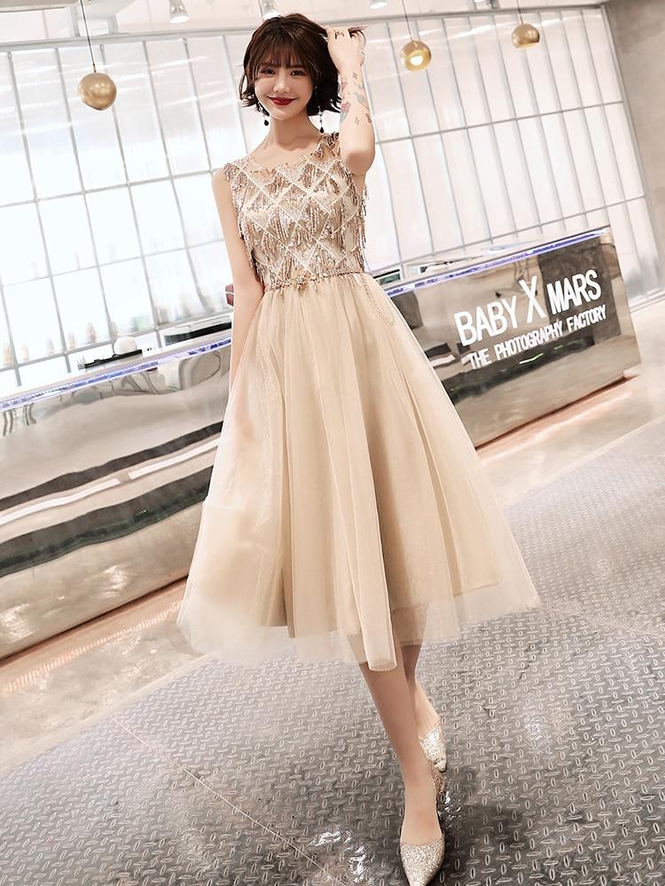 Wei yin 2019 Champagne grande taille Robe De soirée Élégant O-cou Gland Tulle Formelle Robe De soirée tenue De fête Robe De Soirée WY1684 - 6