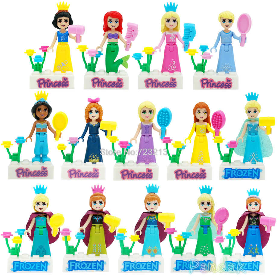 Single legoing Princess Girl Sale Elf Figure White Snow Tinker Bel Fairy Tale Doll Queen Anna Olaf Building Blocks Set Model Toy