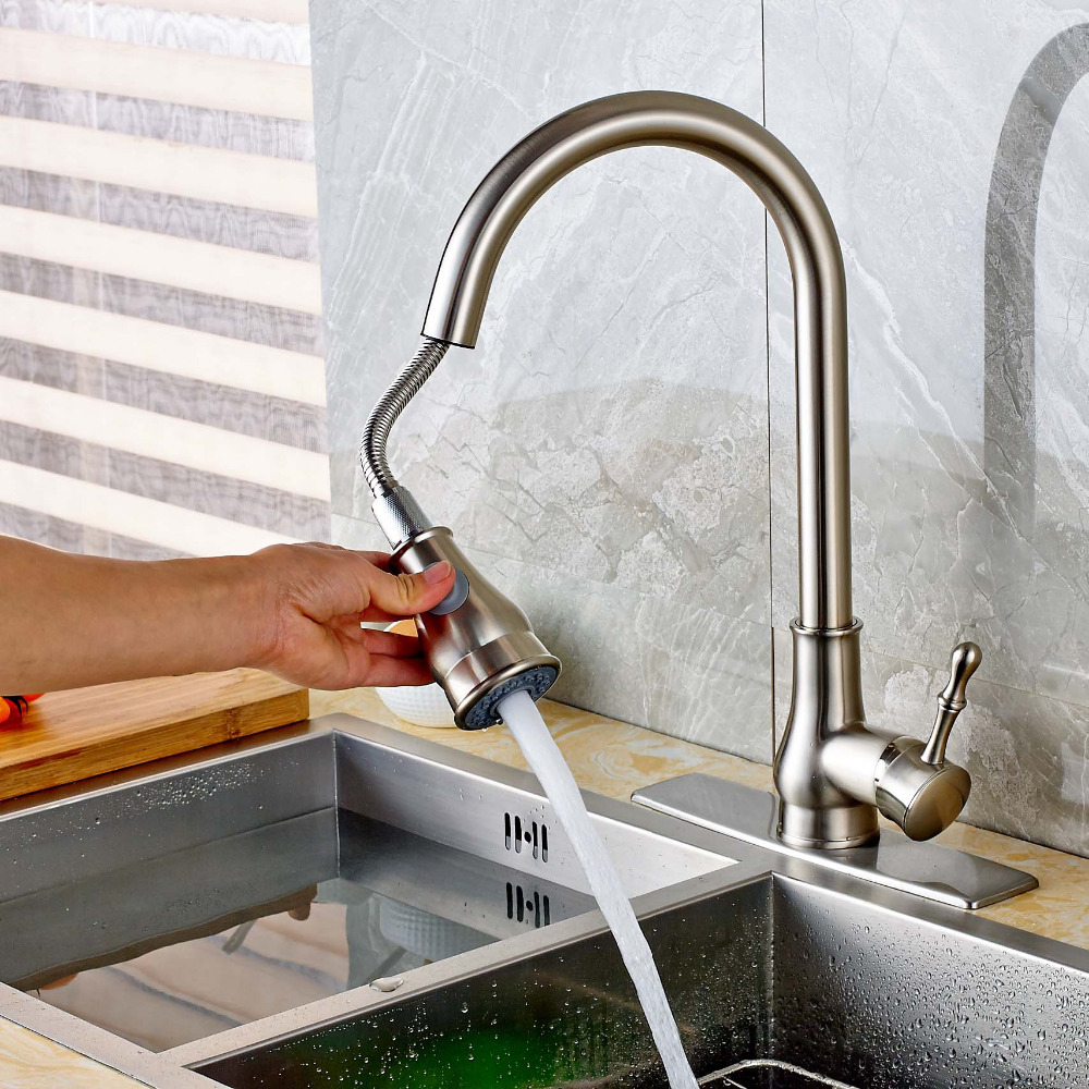 Luxury Single Handle Brushed Nickel Kitchen Faucet Vessel Sink Mixer Tap Pull Out Sprayer Tap стоимость