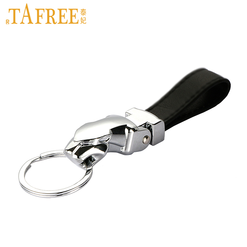 TAFREE Metal Black Leather Keychain Leopard Charm Key chain FASHION Car Brand Logo Key Holder Ring Accessories Gift Jewelry LP88