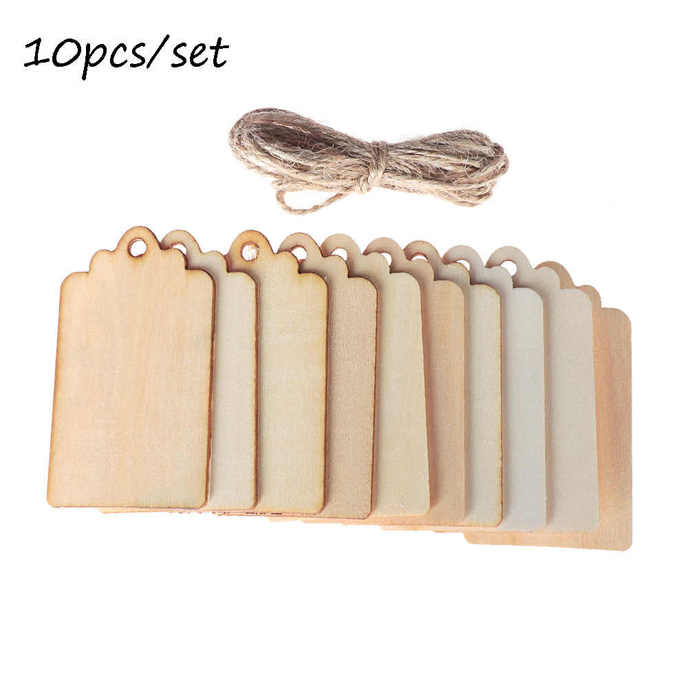 6.8CM*3.9CM *2MM10pcs/set Unfinished Blank Rectangle Wooden Hanging Tags for Scrapbooing Party Favor Wedding Gift Tags with Rope