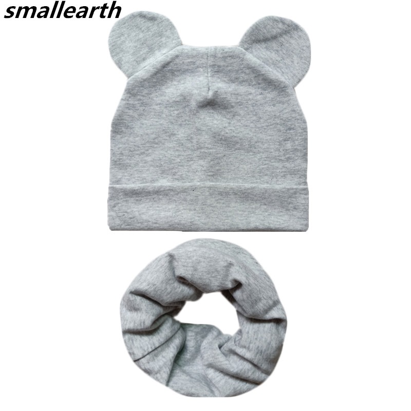 Cotton Children Hats Spring Autumn Winter Baby Hat Scarf Set Child   Skullies   Caps Boys and Girls Kids   Beanies   Solid Color Ear Hat