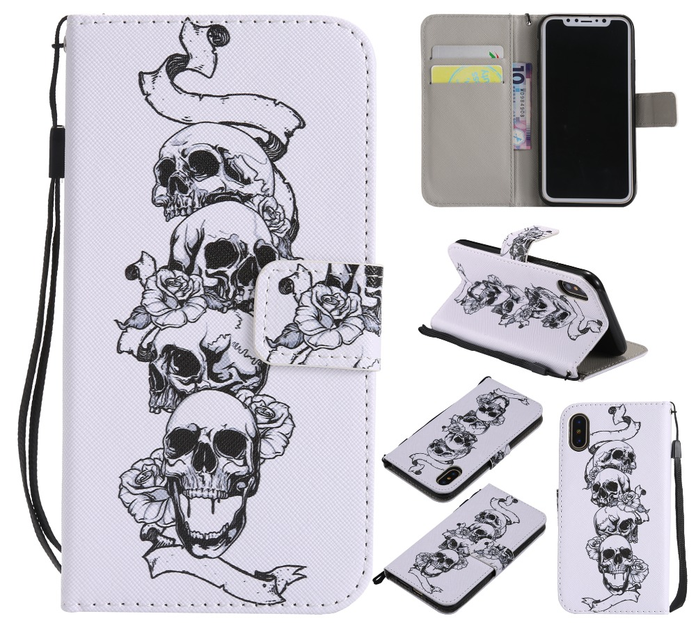 New Painted Book Style Flip Wallet PU Leather Case Stand Cover Skins For iPhone 4 4s 5 5c 5s SE 6 6S 7 8 Plus X XS Phones Cases in Fitted Cases from Cellphones Telecommunications