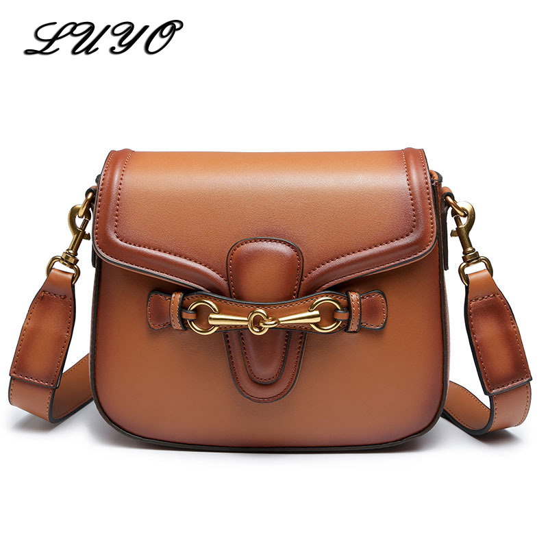 LUYO Fashion Saddle Leather Luxury Handbags Women Bags Designer Crossbody Bags For Woman Shoulder Messenger Summer Bag Female