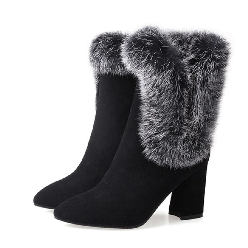 Chaussures femme ankle boots women shoes cow suede real fur rabbit hair women streetwear ankle boots botas mujer