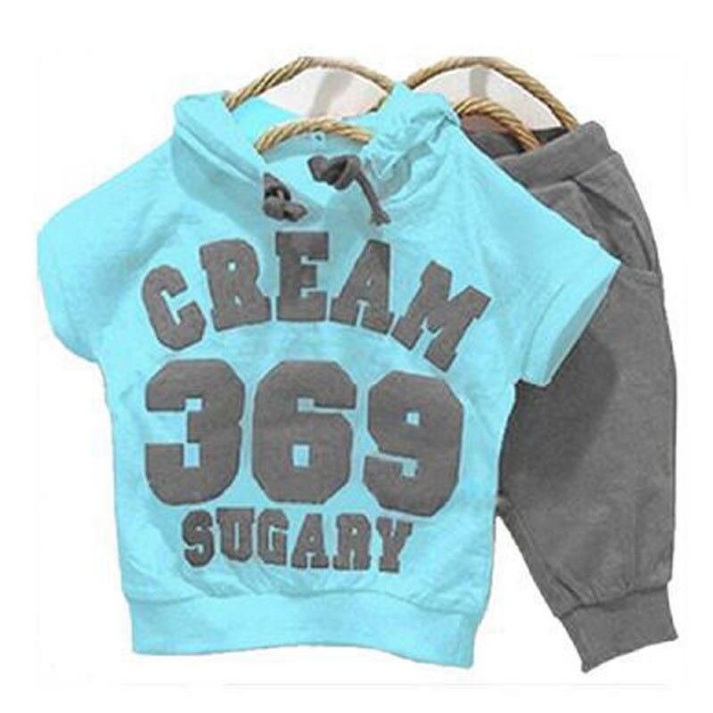 2017 new summer clothes for boys 369 cream sugary boys clothing set hooded short sleeve T-shirt+shorts boys clothes 2017 new summer 369 digital