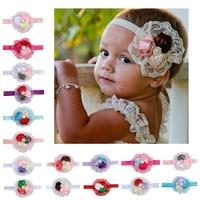 1 Pieces Hot Sale Baby Girl Cute Rose Flower Children Hair Wear Cloth Elastic Headband Newborn