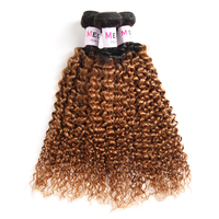 Megalook Pre Colored Ombre T1b30 Peruvian Kinky Curly Human Hair 3 Bundles Honey Blonde Remy Weave Bundle Hair Extensions