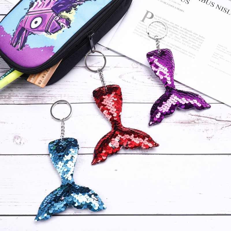 1 ชิ้น Mermaid Tail พวงกุญแจ Sequins Keyring ตกแต่งจี้ผู้หญิงกระเป๋ารถคีย์โทรศัพท์อุปกรณ์เสริมงานแต่งงานของขวัญแม่