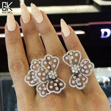 GODKI Trendy Luxury Bowknot Cubic Zircon Crystal CZ Engagement Finger Rings For Women Wedding DUBAI Silver Bridal Ring Dropship