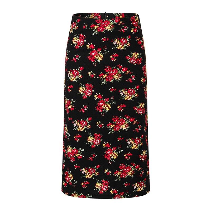 Flower Print Pencil Skirt Official Lady Bodycorn Skirt Plus Size Split Midi Skirt Summer Warp Skirt Zipper Korean Vintage Sexy
