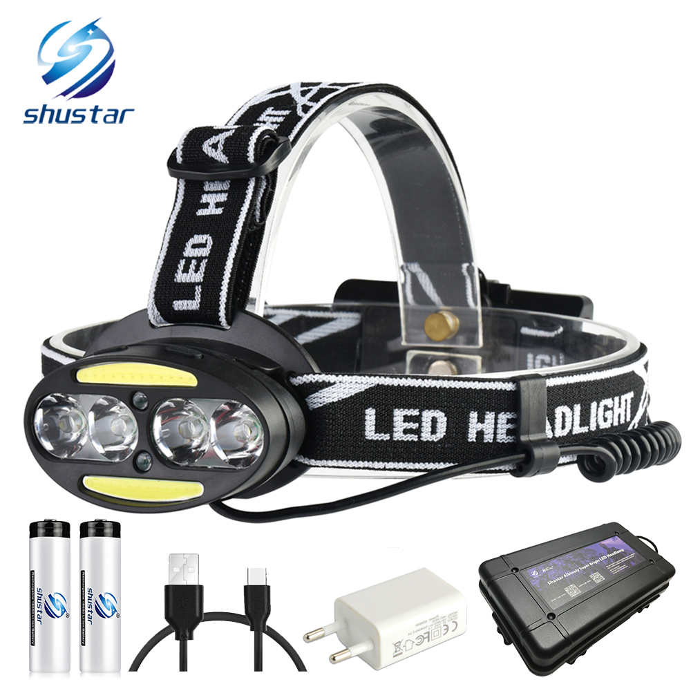 Super bright LED headlamp 4 x T6 + 2 x COB + 2 x Red LED 15000 lumens led headlight 7 lighting modes with batteries charger цена