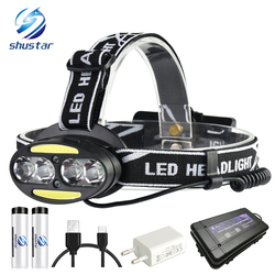Super bright LED headlamp 4 x T6 + 2 x COB + 2 x Red LED 15000 lumens led headlight 7 lighting modes with batteries charger