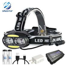 Super bright LED headlamp 4 x T6 + 2 COB Red waterproof led headlight 7 lighting modes with batteries charger
