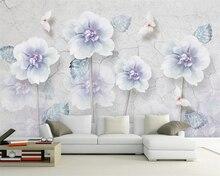 Купить с кэшбэком Beibehang Custom wallpaper light blue fantasy hand-painted flowers sofa TV background walls living room bedroom 3d wallpaper