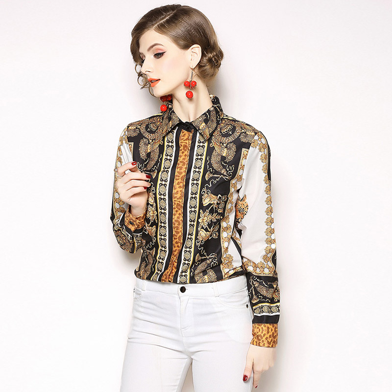 Women Casual blouse Lapel Long Sleeve blouse Floral Character Print Shirt women Tops Blusas Mujer de Moda 2019 in Blouses amp Shirts from Women 39 s Clothing