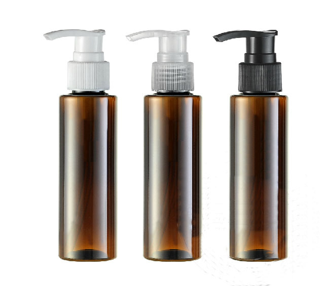 50PCS LOT 100ML Spiral Lotion Pump Bottle Amber Plastic Cosmetic Container Empty Shampoo Sub bottling Essential